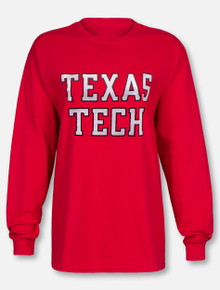 "Texas Tech Red Raiders ""Rugged Glitter Football Font"" Long Sleeve T-Shirt"
