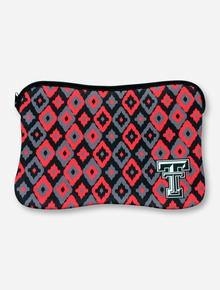 Texas Tech Double T Corner Print on Black, Red & Grey Neoprene Laptop Case