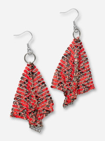 DaynaU Texas Tech Double T Red Mesh Earrings