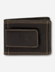 Texas Tech Embossed Double T on Slim Black Leather Wallet with Cash Clip