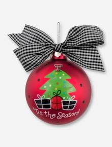 Christmas Tree on Red Satin Metallic Ornament