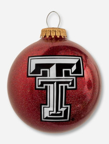 Double T on Red Glitter Glass Ornament