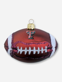 Texas Tech Football with Double T & Glitter Accents Ornament
