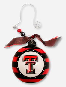 Glory Haus Striped Glass Ornament with Double T - Texas Tech