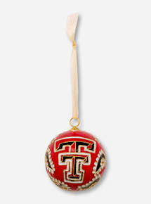 Kitty Keller Double T on Black Paisley Pattern Cloisonne Ornament - Texas Tech