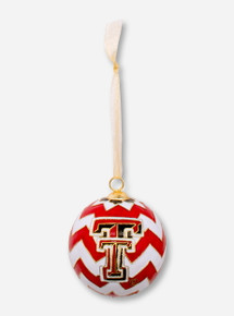 Kitty Keller Double T on Chevron Pattern Cloisonne Ornament - Texas Tech