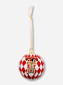 Kitty Keller Double T on Diamond Pattern Cloisonne Ornament - Texas Tech
