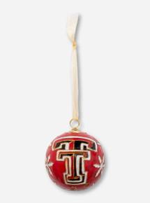 Kitty Keller Double T on Poinsettia Snowflake Pattern Cloisonne Ornament - Texas Tech
