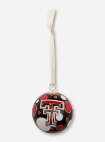 Kitty Keller Double T on Polka Dot Pattern Cloisonne Ornament - Texas Tech