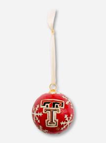 Kitty Keller Double T on Snowflake Pattern Cloisonne Ornament - Texas Tech