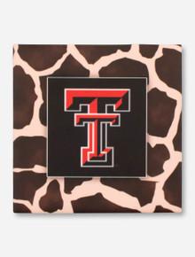 Texas Tech Double T on Giraffe Patterned Black Coaster