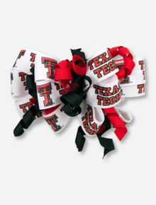 Double T & Texas Tech White Bow with Red & Black Spiral Ribbons
