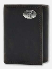 Texas Tech Double T Emblem on Trifold Leather Wallet