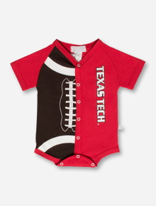 Texas Tech Third Street Half Football INFANT Brown & Red Onesie