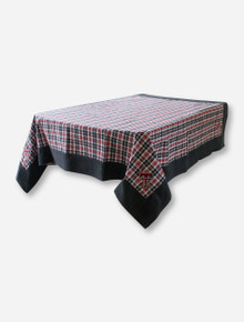 """Texas Tech Double T on 55"""" x 55"""" Red, Black & White Plaid Table Cloth"""