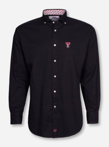 Thomas Dean Texas Tech Solid Black Dress Shirt