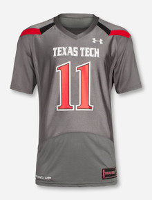 "Under Armour Texas Tech ""On The Field"" #11 Grey Jersey"