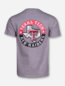 Texas Tech Baseball with Crossed Bats on Heather Grey T-Shirt