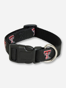 Texas Tech Double T on Black Dog Collar