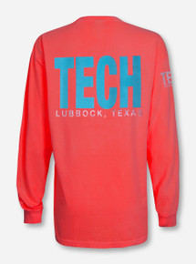 Lubbock, TX TECH in Blue on Neon Orange Long Sleeve