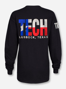 Lubbock, TX TECH in Texas Flag on Black Long Sleeve