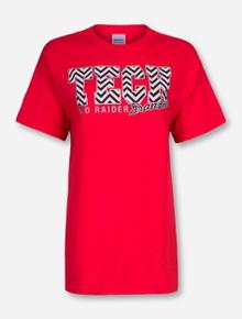 Chevron Glitter Tech Block Grandma on Red T-Shirt