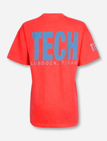 Lubbock, TX TECH in Aqua on Neon Orange T-Shirt