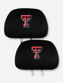 Texas Tech Double T on Black Head Rest Cover