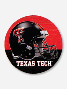 Texas Tech Football Helmet on Absorbent Red & Black Auto Coaster