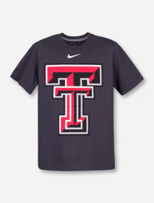 Nike Texas Tech Large Double T on Charcoal YOUTH T-Shirt