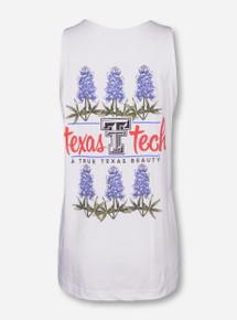 Texas Tech Bluebonnet on White Tank Top