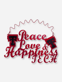 Peace, Love & Happiness Tech Red Metal Wall Hanging