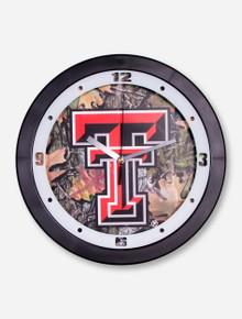 Texas Tech Double T on Camo Wall Clock