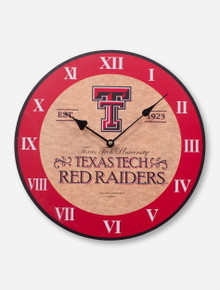 Texas Tech & Roman Numerals on Parchment Wall Clock