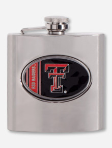 Texas Tech Enamel Double T Emblem on Stainless Steel Flask