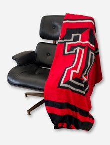 Logo Double T & Texas Tech Red Raiders on Red & Black Blanket