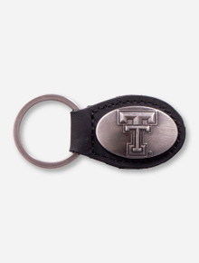 Double T with Black Rubber Grip Pewter Keychain
