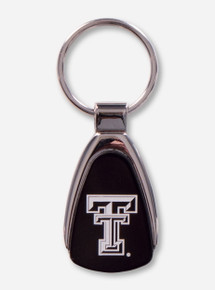 Texas Tech Laser Engraved Double T on Black Keychain