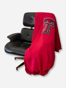 Logo Texas Tech Double T on Red Sweatshirt Blanket