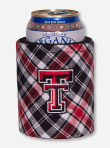Texas Tech Double T on Black & Red Plaid Koozie