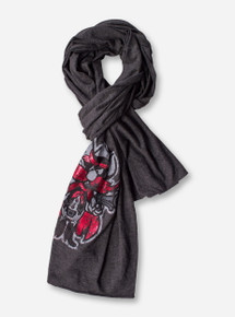 Metallic Raider Red on Charcoal Scarf - Texas Tech