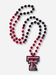 Double T Charm on Red & Black Party Bead Necklace