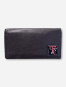 Texas Tech Double T Emblem on Black Leather Checkbook Cover