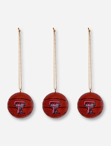 Texas Tech Set of 3 Basketball Ornaments