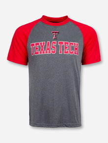 Arena Double T over Texas Tech on Heather Charcoal and Red Raglan
