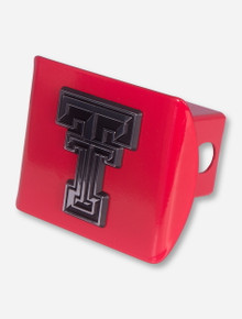 Texas Tech Chrome Double T on Red Hitch Cover