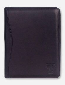 Texas Tech Double T on Black Leather Padfolio