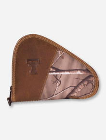 Texas Tech Double T on Camo and Leather Pistol case