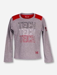 Under Armour Texas Tech Repeating TECH on Heather Grey TODDLER Long Sleeve