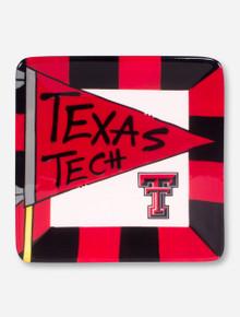 Texas Tech Flag Square Ceramic Plate